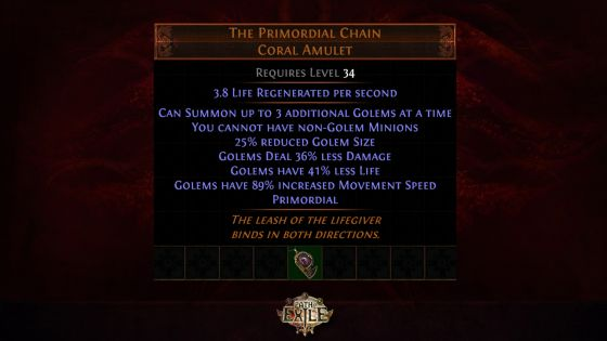 path of exile the primordial chain
